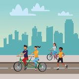 People in the city. Women basketball bicicle businesswoman skyscrapers silhouette cityscape royalty free illustration