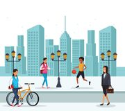 People in the city. Women basketball bicicle businesswoman skyscrapers silhouette cityscape vector illustration graphic design royalty free illustration