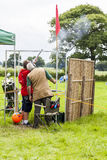 People clay shooting on the shooting. The Royal Cheshire County Show, Knutsford , England, U.K. - June 22, 2016 : People clay shooting on the shooting range Royalty Free Stock Image