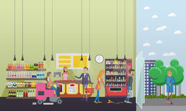 People cleaning store while customers shopping. Vector illustration flat retro style. Floor care and service in. People cleaning store while customers shopping Stock Photos