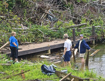 People Cleaning Up After Tornado stock image