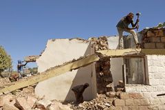 People clearing away the rubble, Ethiopia Royalty Free Stock Photos
