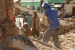 People clearing the rubble, Ethiopia Stock Photos
