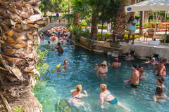 People in Cleopatra pool Royalty Free Stock Photo