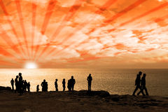 People on the cliff edge Royalty Free Stock Image