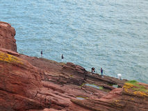 People and cliffs. A group of men fishing on the cliffs of the North Sea coast in Arbroath, Scotland Royalty Free Stock Images