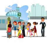 People climb ladder aboard plane, landing men and women on airplane at airport vector illustration, passengers with bags. And suitcase sut go up stairs to Royalty Free Stock Image