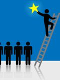 People Climb Ladder Rising Star Symbol. Person climbs a ladder to success to raise a star. Symbol of stardom, celebrity, successful people, hope vector illustration