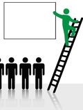People Climb Ladder Sign Background. Person climbs a ladder to raise and point to information or ad copy in a copyspace sign background stock illustration