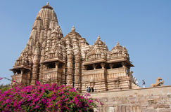 People climb to the hindu temple is surrounded by flowers Stock Image
