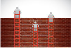 Free People Climbing A Brick Wall With Ladders Royalty Free Stock Photos - 41799648