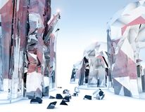 People climbing on a giant crystal, fantastic world. Science fiction landscape Royalty Free Stock Image