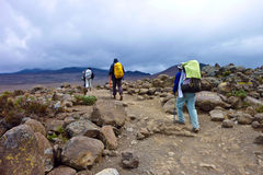 People climbing the Mount Kilimanjaro Stock Photography