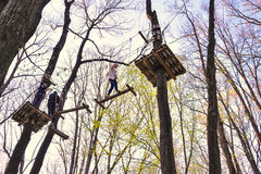 People climbing the obstacles in the trees. For recreation in `Eden Park` from Bucharest royalty free stock images