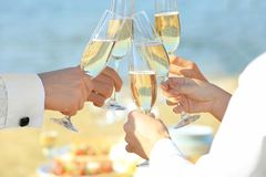People clinking glasses at party outdoors stock photo