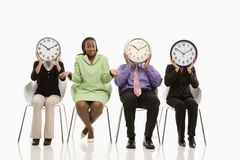 People with clock faces Stock Photos