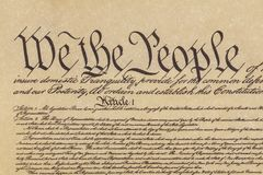 We the People. Close up shot of the preamble to the Constitution of the United States beginning with `We the People Stock Photo