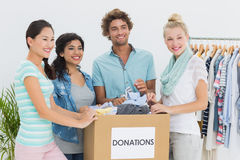 People with clothes donation Royalty Free Stock Images