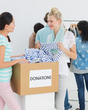 People with clothes donation Stock Photo