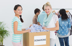 People with clothes donation Royalty Free Stock Photo