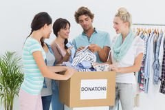 People with clothes donation Stock Photos
