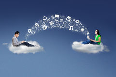 People on cloud and share information Stock Photography
