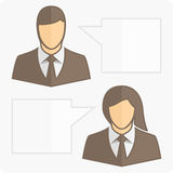 People with clouds thoughts. Vector pattern two businessmen talking. Man and woman with Development dialog clouds Stock Photography