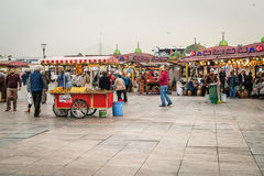 People on the coast of Eminonu in Istanbul, Turkey Royalty Free Stock Images