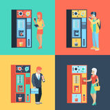 People and coffee automatic machine in vector flat coffee break Royalty Free Stock Image