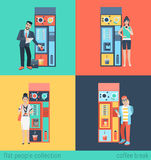 People and coffee automatic machine in vector flat coffee break Stock Image