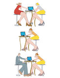 People_in_coffeehouse_laptop Stock Photography