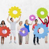 People Cog Gears Team Teamwork Unity Togetherness Concept Royalty Free Stock Images
