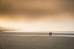 People on a cold beach Stock Photography