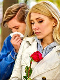 People with a cold blowing nose  handkerchief fall Stock Image