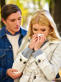People with a cold blowing nose  handkerchief fall Stock Photo
