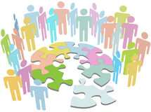 People collaborate find puzzle solution problem stock photo