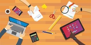 People Collaboration working together at desk. Illustration vector illustration