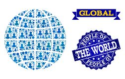 People Collage of Mosaic Globe and Grunge Seal Stamp vector illustration
