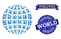 People Collage of Mosaic Globe and Textured Seal Stamp royalty free illustration