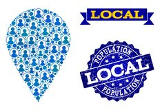 People Collage of Mosaic Local Place and Scratched Seal vector illustration