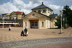 People on colonnade in Františkovy Lázně Royalty Free Stock Image