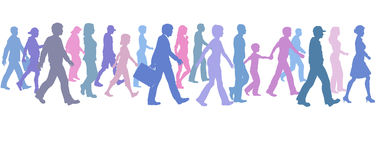 People of color group walk follow direction leader vector illustration