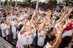 People at The color Run event in Milan, Italy Stock Photos