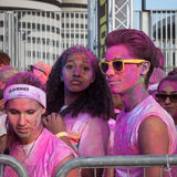 People at The color Run event in Milan, Italy Royalty Free Stock Photography