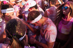 People at The color Run event in Milan, Italy Stock Images