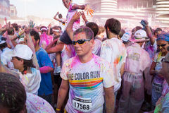 People at The color Run event in Milan, Italy Royalty Free Stock Photos