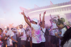 People at The color Run event in Milan, Italy Stock Image