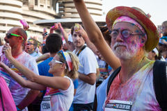People at The color Run event in Milan, Italy Royalty Free Stock Image