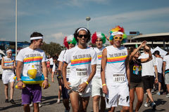 People at The color Run event in Milan, Italy Stock Photo