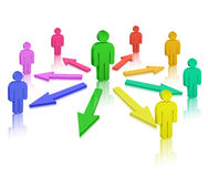 People and colored arrows Royalty Free Stock Photography